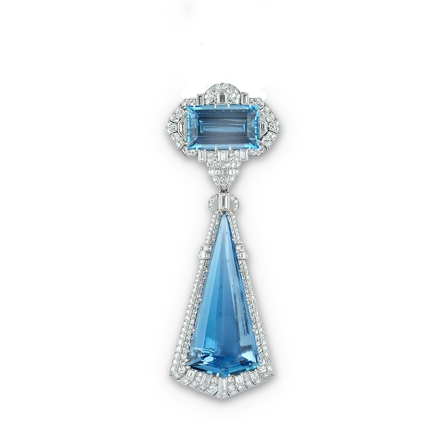 An Art Deco aquamarine and diamond brooch pendant Of strong geometric design, composed of a rectangular-shaped aquamarine surmount within a surround of single-, baguette-, torpedo-, and trapezoid-shaped diamonds, suspending a larger triangular-shaped aquamarine within a similar surround, 1930s,, American. Detachable chain and brooch fittings. Accompanied by a certificate from the AGL stating that the aquamarines are natural with no clarity enhancement.