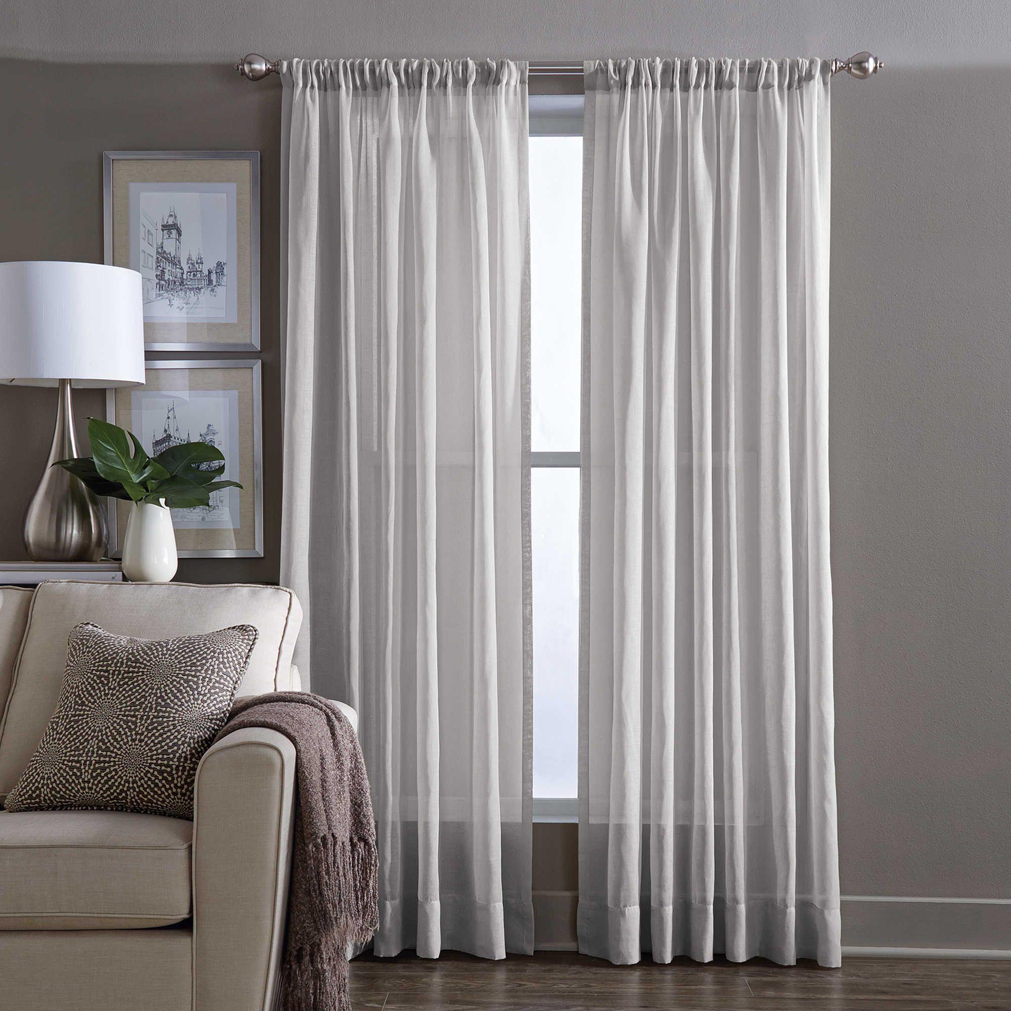 Wamsutta® Sheer 108-Inch Window Curtain Panel In Grey