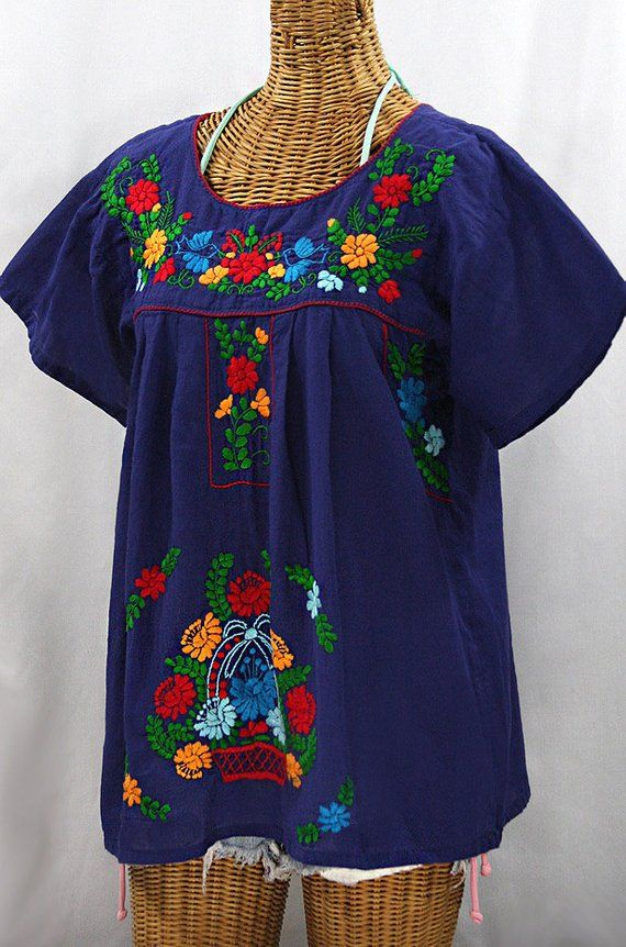5e6d069a0bdf2b Mexican Peasant Blouse Top Hand Embroidered