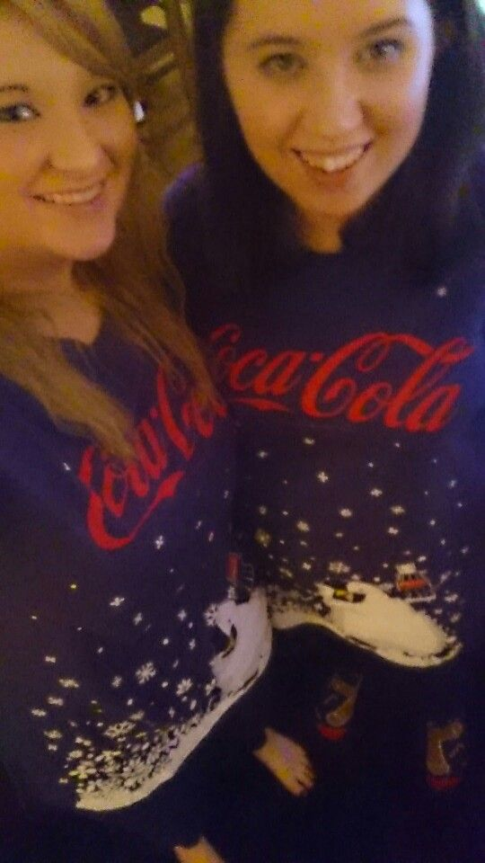 Matching Christmas eve pyjamas were so cute!! #sisters #pyjamas #cocacola #christmaseve
