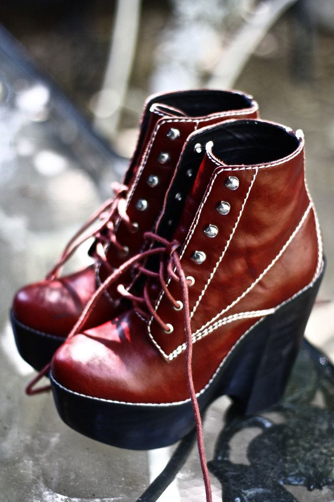 JEFFREY CAMPBELL RED CHLOE DOC MARTEN LACE-UP WEDGE HEELS