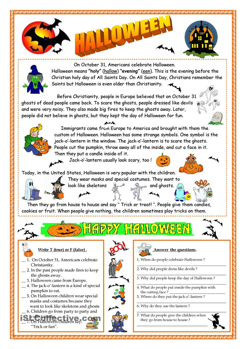halloween reading - Esl Halloween Games