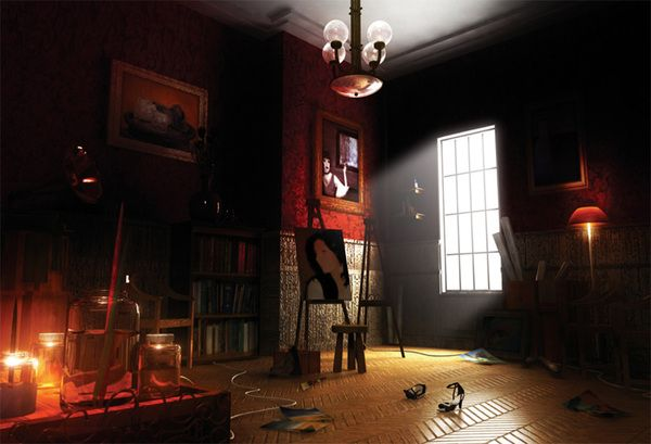 3d Scene Of An Artist S Room With Dramatic Lighting Modeling Textured And Lighting Dome In Maya Photoshop Dramatic Lighting Scene Image