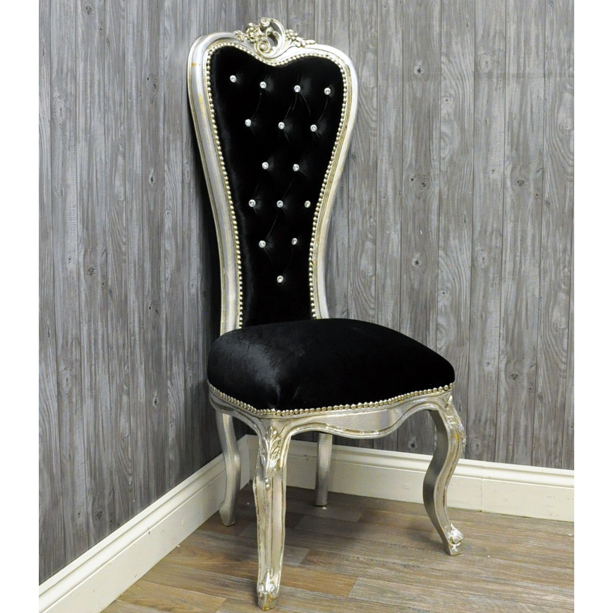 Vintage Style Silver & Black Velvet Wedding Throne Chair - Vintage Style Silver & Black Velvet Wedding Throne Chair Chairs
