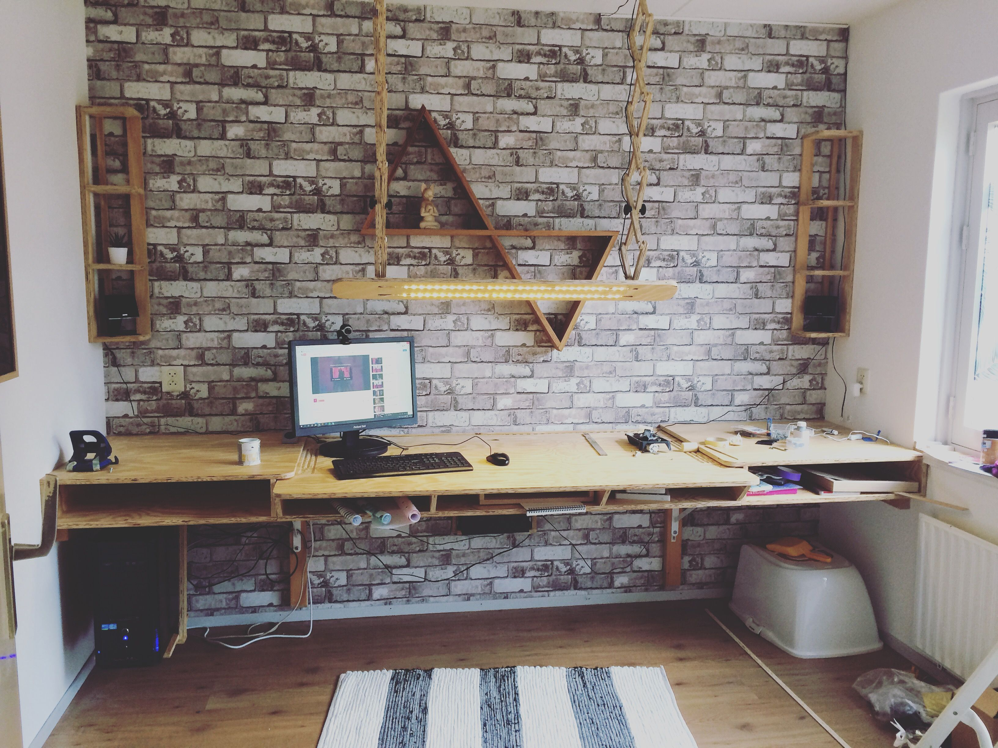 Custom Made Office Custom Made Desk Home Office Brick Wall