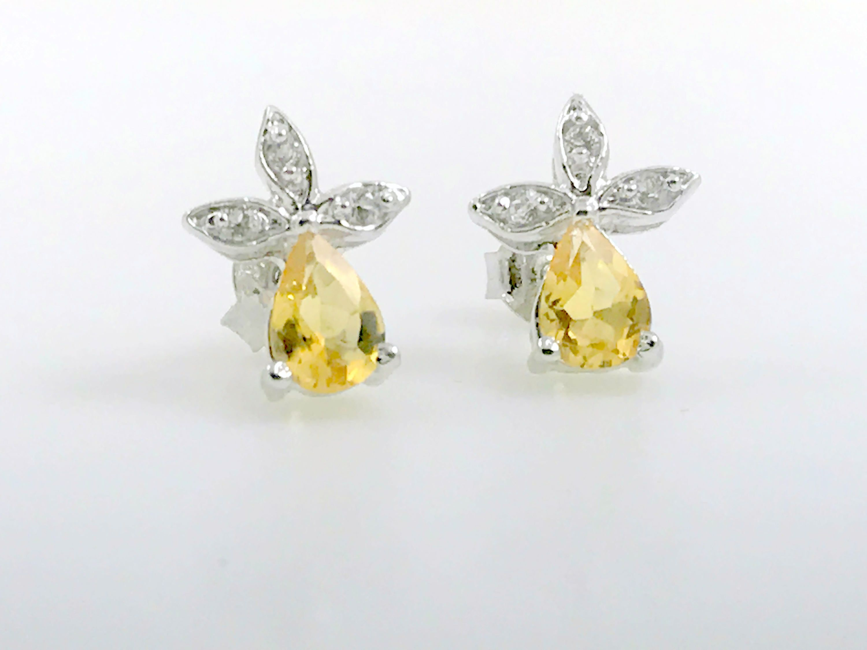 100 Natural Citrine Earrings Beautiful Yellow Topaz Stud With White In Pave Set November Birthstone By Bnaqshatrajewels On Etsy
