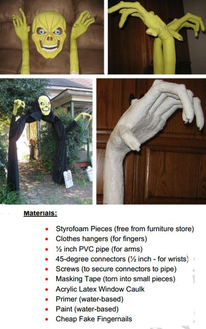 Giant Ghoul hands - how to tutorial - PDF directions and materials