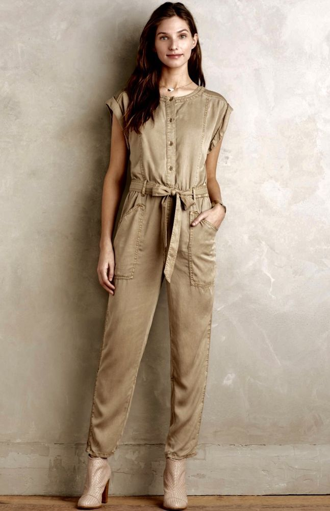 0c9f874c93e NEW Anthropologie Hei Hei Khaki Belted Brushed Lyocell Jumpsuit Small    Petite  HeiHei  jumpsuit