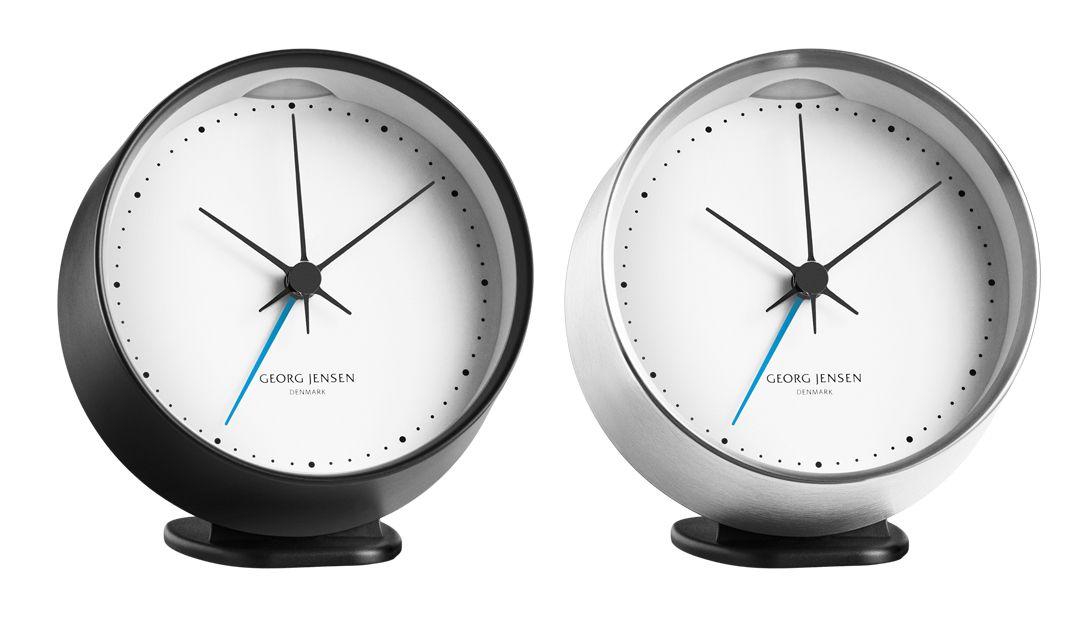 Georg Jensen Hk Alarm Clock Black White Steel White Design By Henning Koppel Clock Alarm Clock Wall Clock