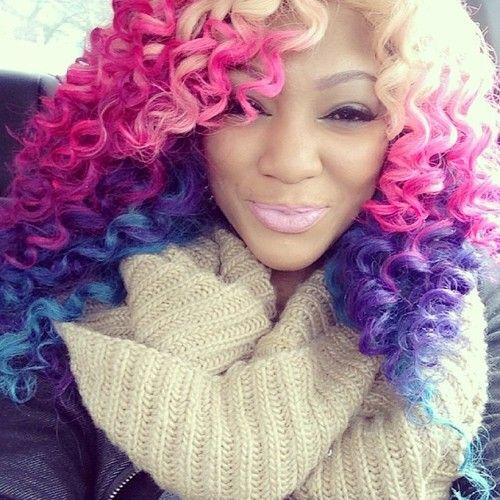 Blonde Pink Purple Blue Ombre Rainbow Hair Colorful Hair Hair Colors Curly Hair Natural Hair Styles Multicolored Hair Rainbow Hair