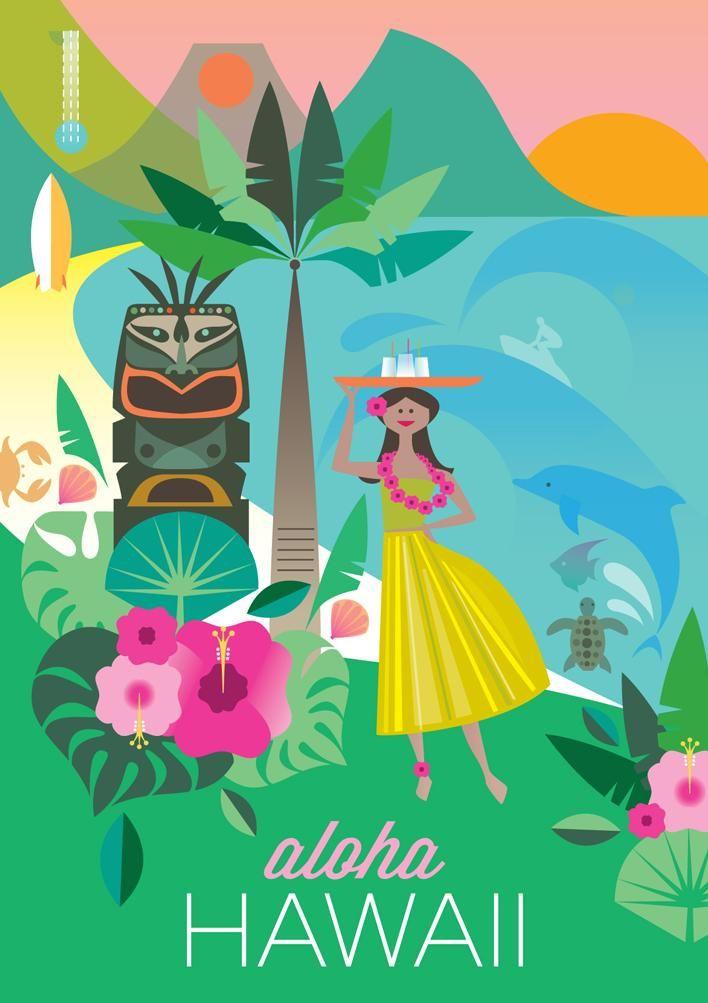 Hawaii Aloha Print Vintage Travel Posters Travel Posters