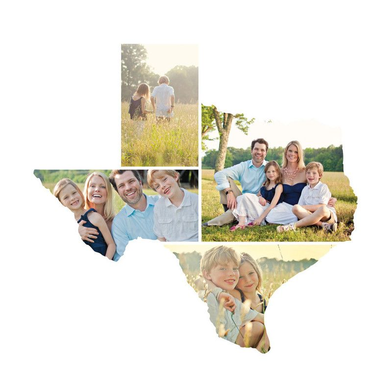 Texas Love Location Family Portraits Arranged In Shape Of Home