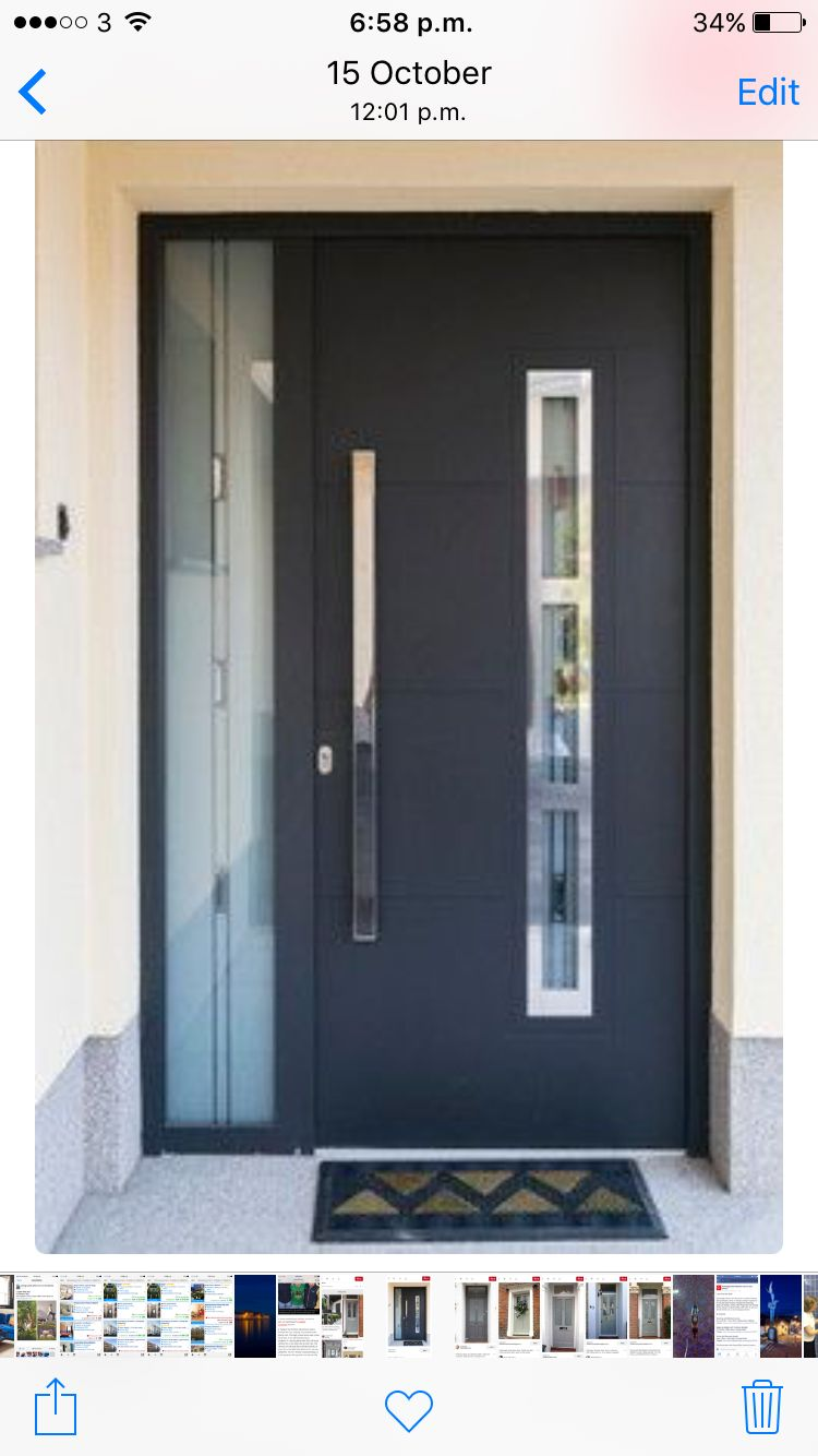 Modern Front Door With Vertical Glass Panel In Door Contemporary Front Doors Exterior Door Designs Modern Door