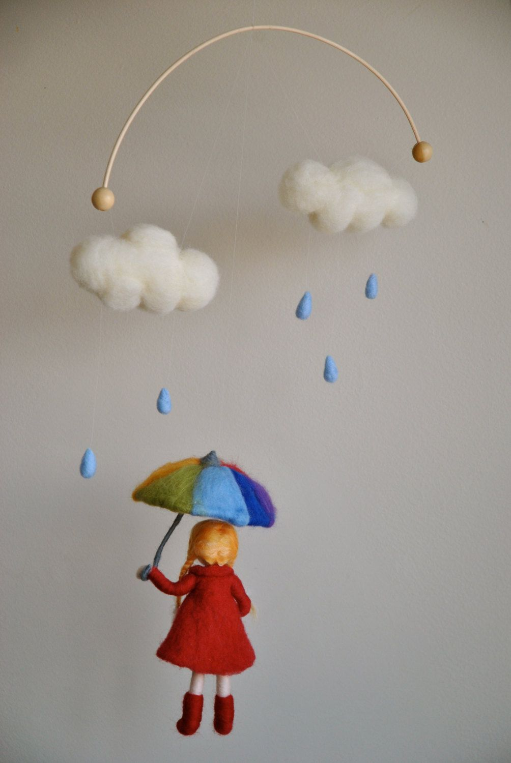 Waldorf inspired needle felted girl mobile #childrensdecor #kidsroom decor by MagicWool $90.00