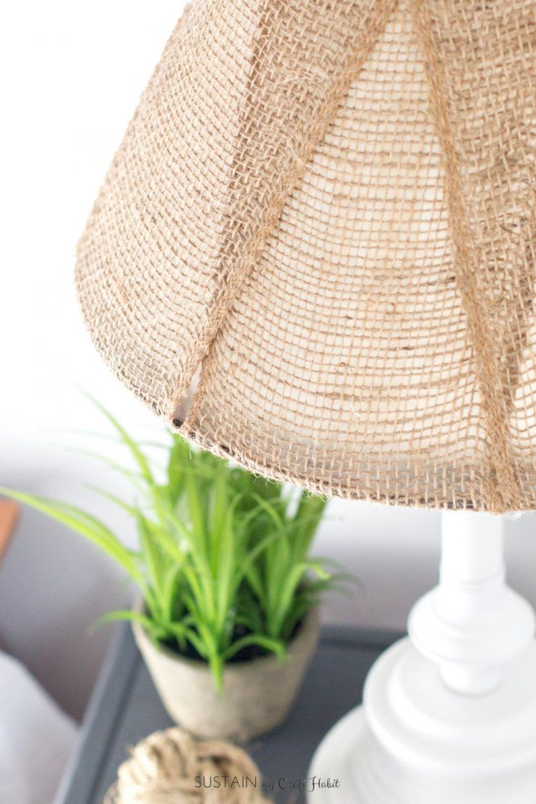 Photo of A DIY Brass Lamp Makeover with a Burlap Lampshade