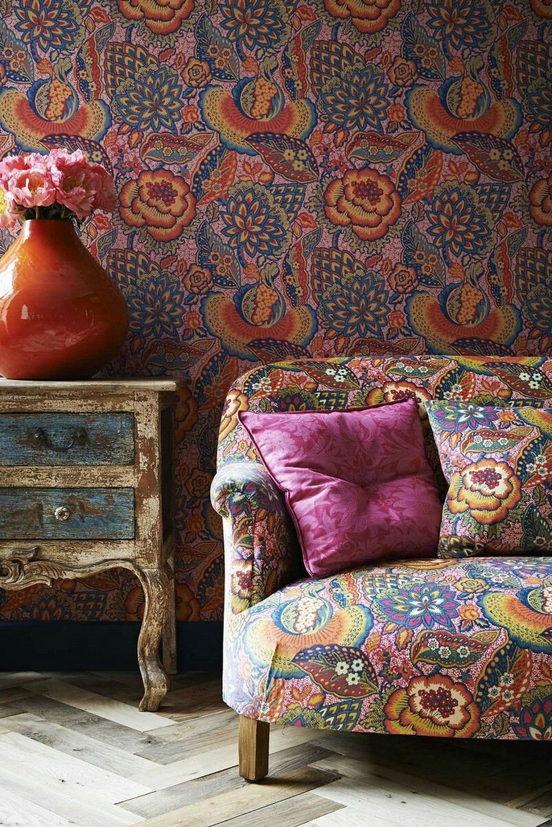 would be so great to upholster and wallpaper with one pattern