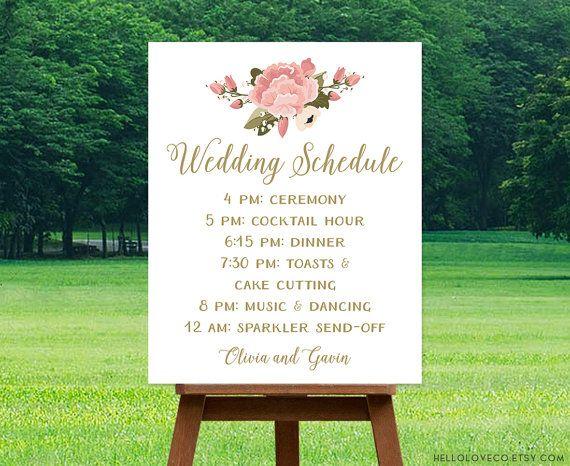 PRINTABLE Wedding Schedule Sign, Custom Wedding Program