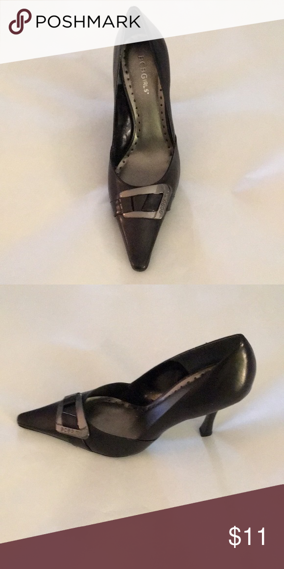 """d54c460b9a BCBG girls black shoes. 4"""". Pewter buckle across pointed toe. Never worn.  BCBGirls Shoes Heels"""