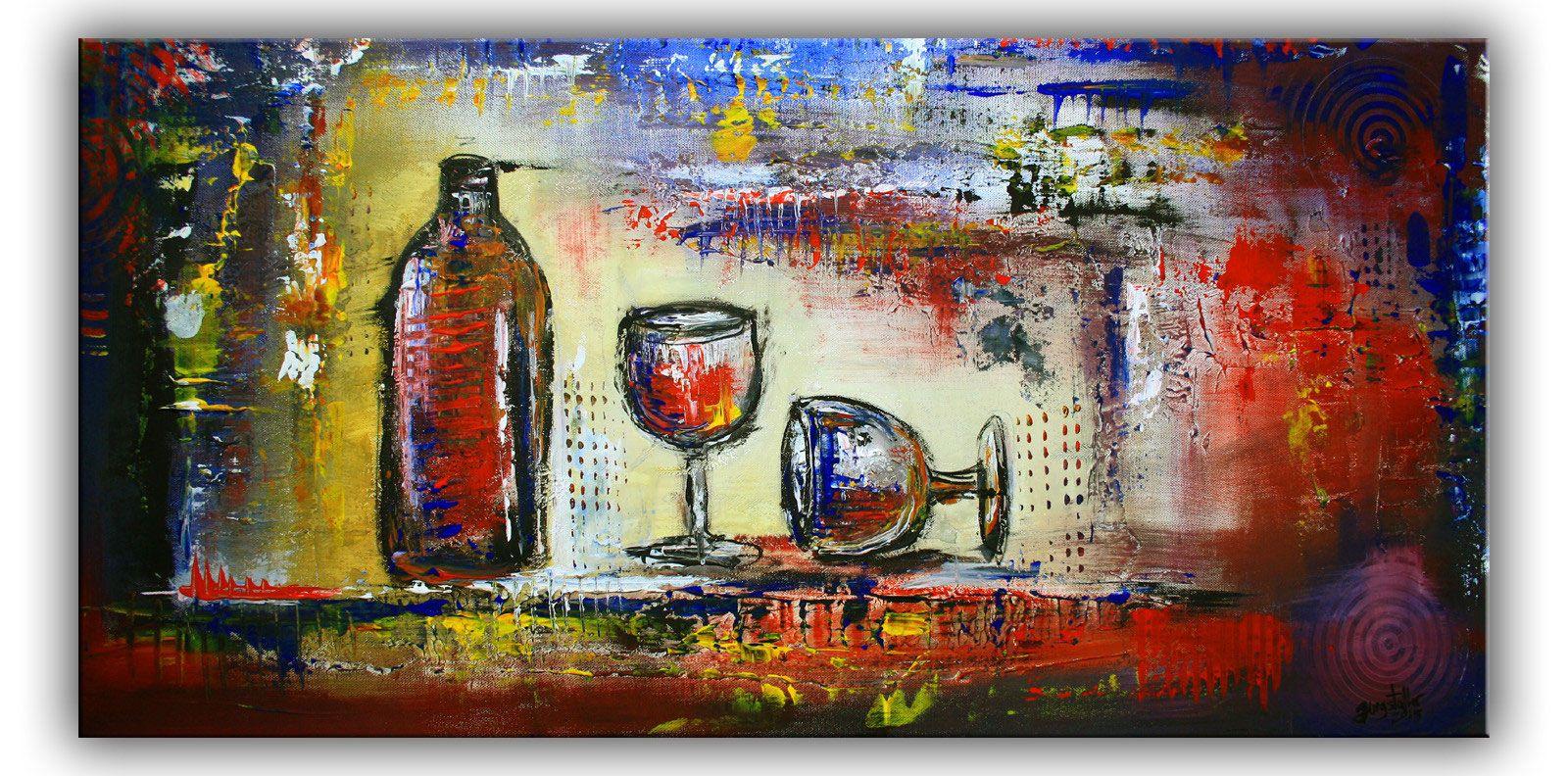 wein glaser abstrakte malerei bunt kunst original kunstler bild stillleben g gemalde moderne acrylmalerei häuser abstrakt bilder wohnzimmer