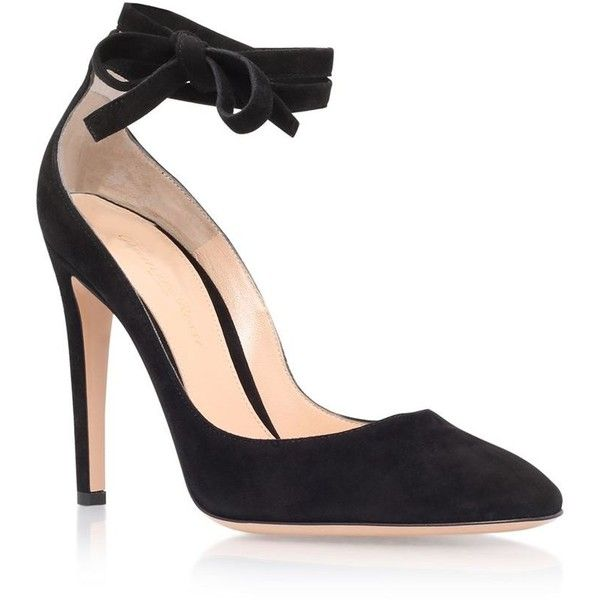 269a7dce49 Gianvito Rossi Carla 100 Suede Pumps ($800) ❤ liked on Polyvore featuring  shoes, pumps, almond toe pumps, suede ankle strap pumps, black suede pumps,  ...