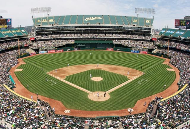 Oakland Coliseum After It Was Ruined For Baseball By Football Oakland Coliseum Baseball Park Mlb Stadiums
