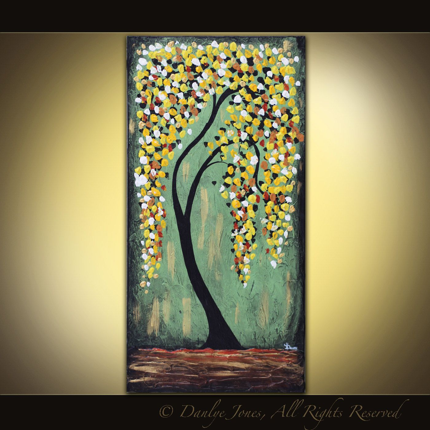 Yellow Tree original acrylic painting on canvas 18 x 36   Yellow ...