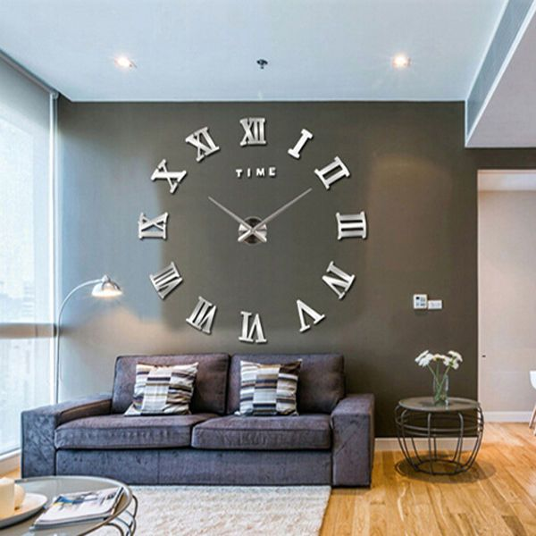 Charming NEW Modern 3D Mirror DIY Large Wall Clock Surface Sticker Home Office Decor Design