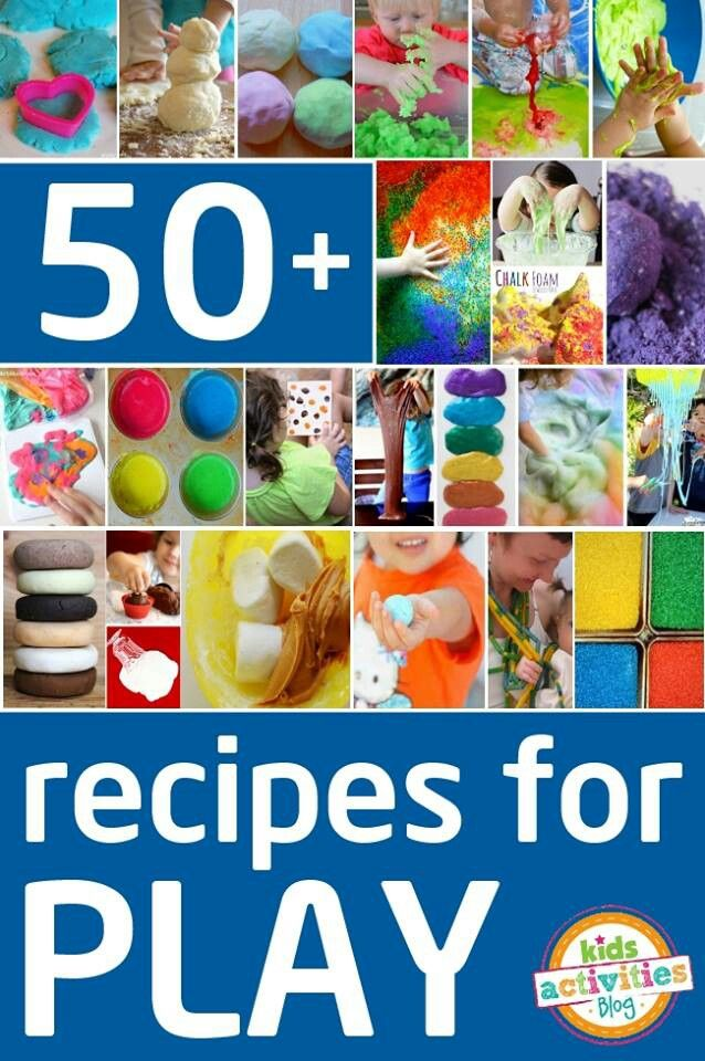 50 GREAT RECIPES FOR PLAY http://kidsactivitiesblog.com/49815/best-play-recipes This post shares loads of recipes for playdough, slime, paint, and sensory fun from quirkymomma.com.