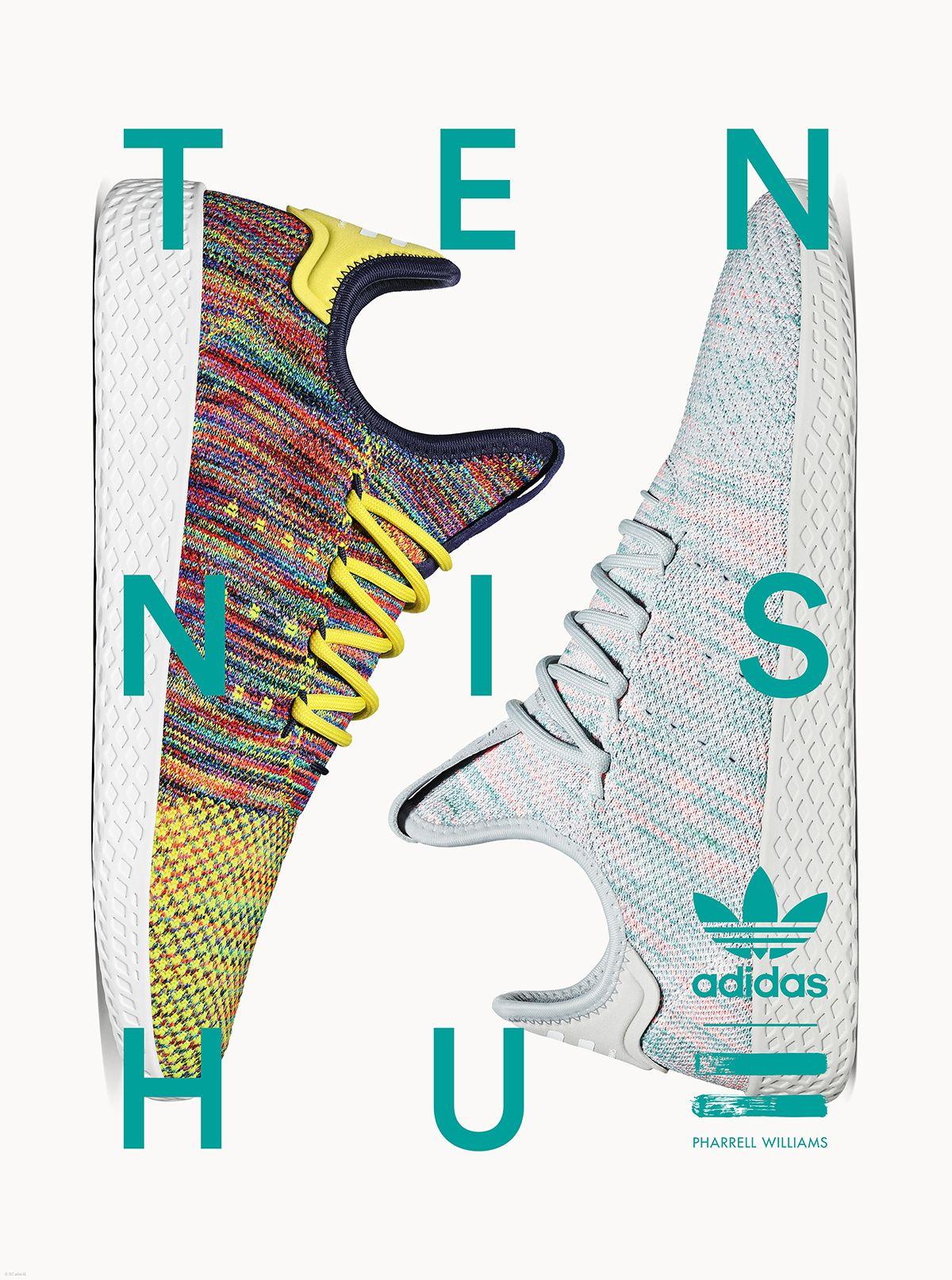 adidas originali x pharrell williams tennis hu: quattro colorways per