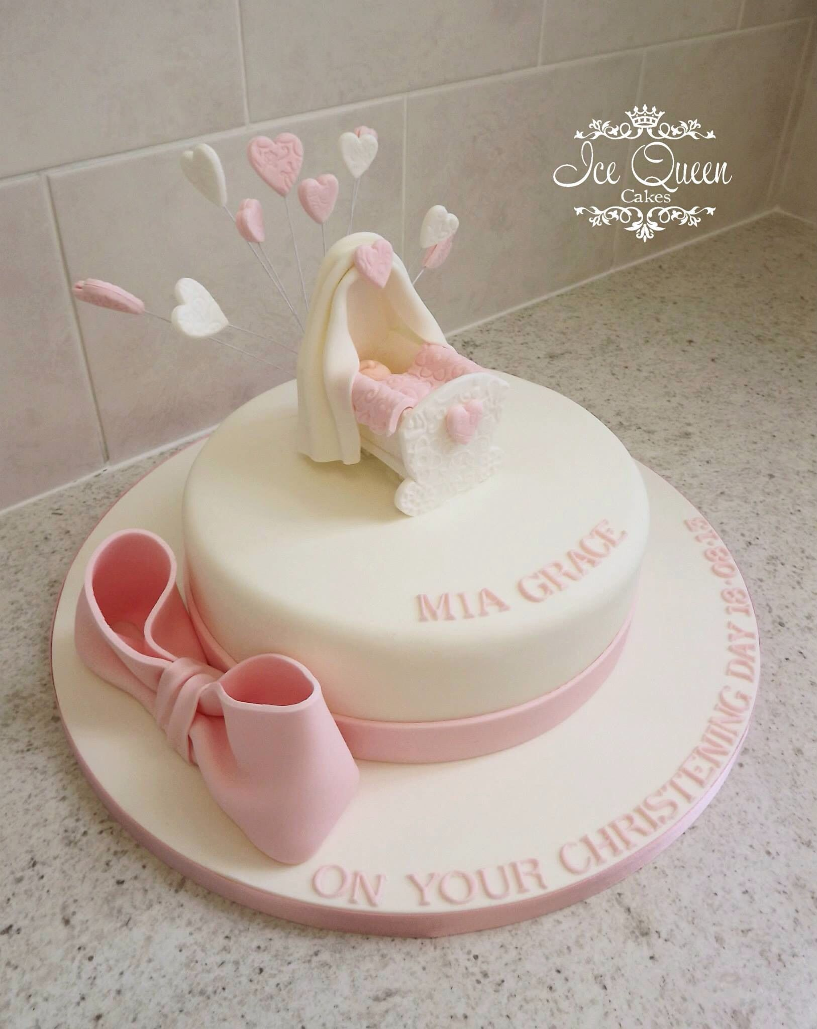 Baby cribs liverpool - Baby Cradle Christening Cake With Pink Bow Ice Queen Cakes Celebration Cakes Liverpool