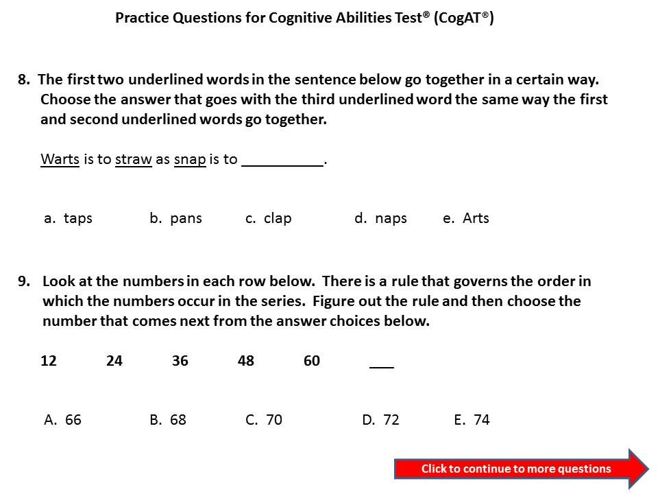 Cogat Practice Questions For 3rd To 4th Grade Cogat Gifted Tag