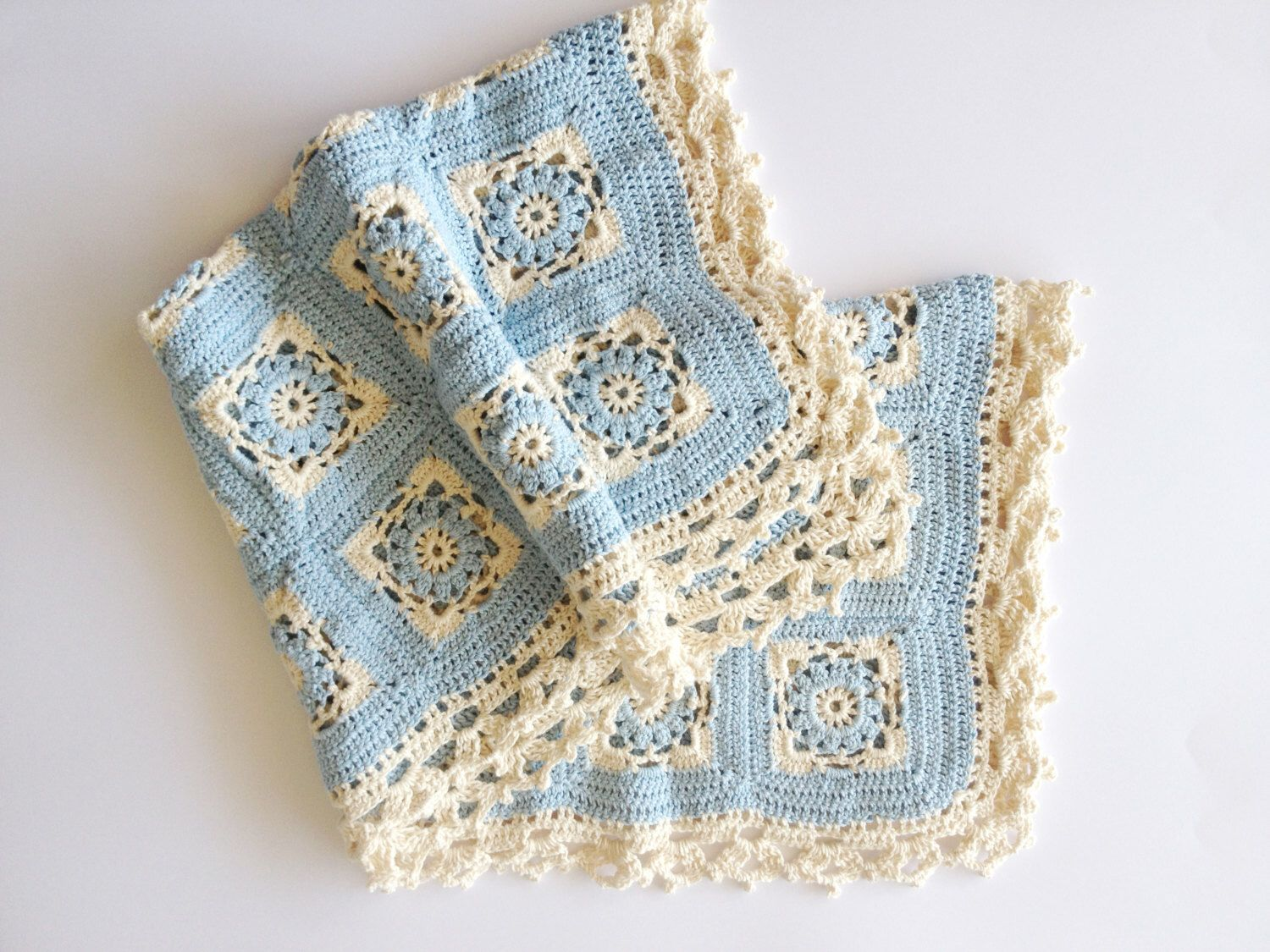Baby blanket, pale blue and cream, crochet hand knitted, 100% cotton ...