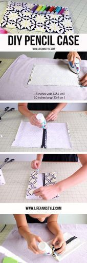 DIY Pencil Case & Makeup Pouch | Ann Le Style How to EASY No Sew     | pillow