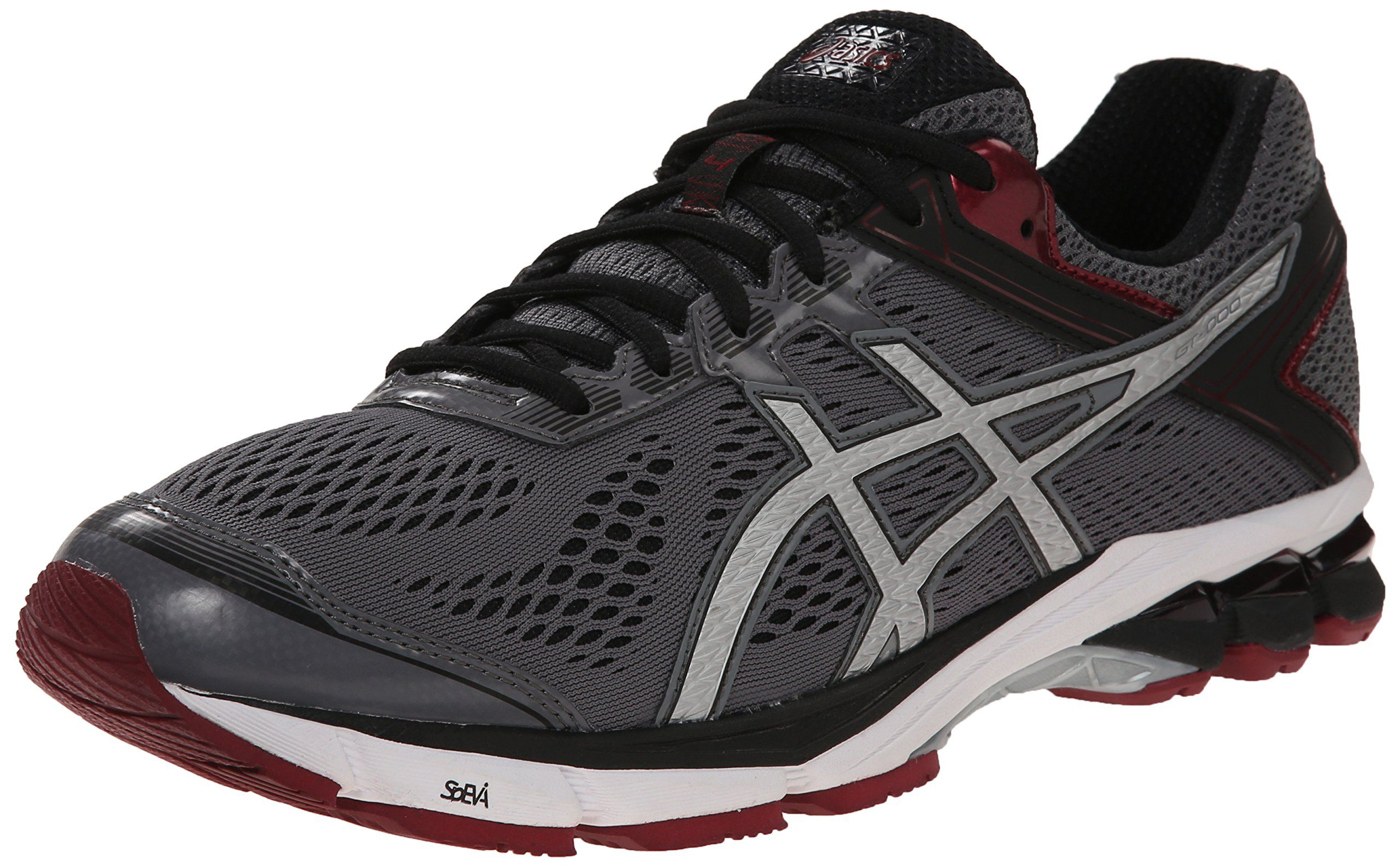 ASICS Men's GT 1000 4 Running Shoe, Carbon/Silver/Maroon, 14 M US. Stability  running shoe engineered to support overpronation featuring breathable mesh  ...