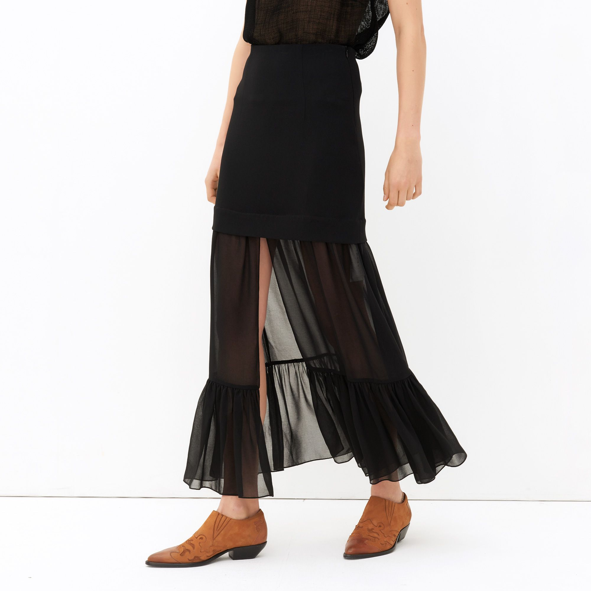 Summer New 2017 Mesh Lace See Through Transparent Sexy Womens Skirt Ruffles  Design Splice Slim Fit Faldas Woman Black Color Saia