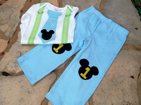 Baby Mickey Mouse 1st Birthday Tie Suspender Bodysuit And