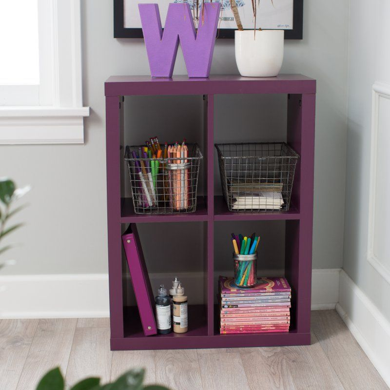 Clic Playtime 4 Cube Bookcase Plum Stip 150803 1 Purple