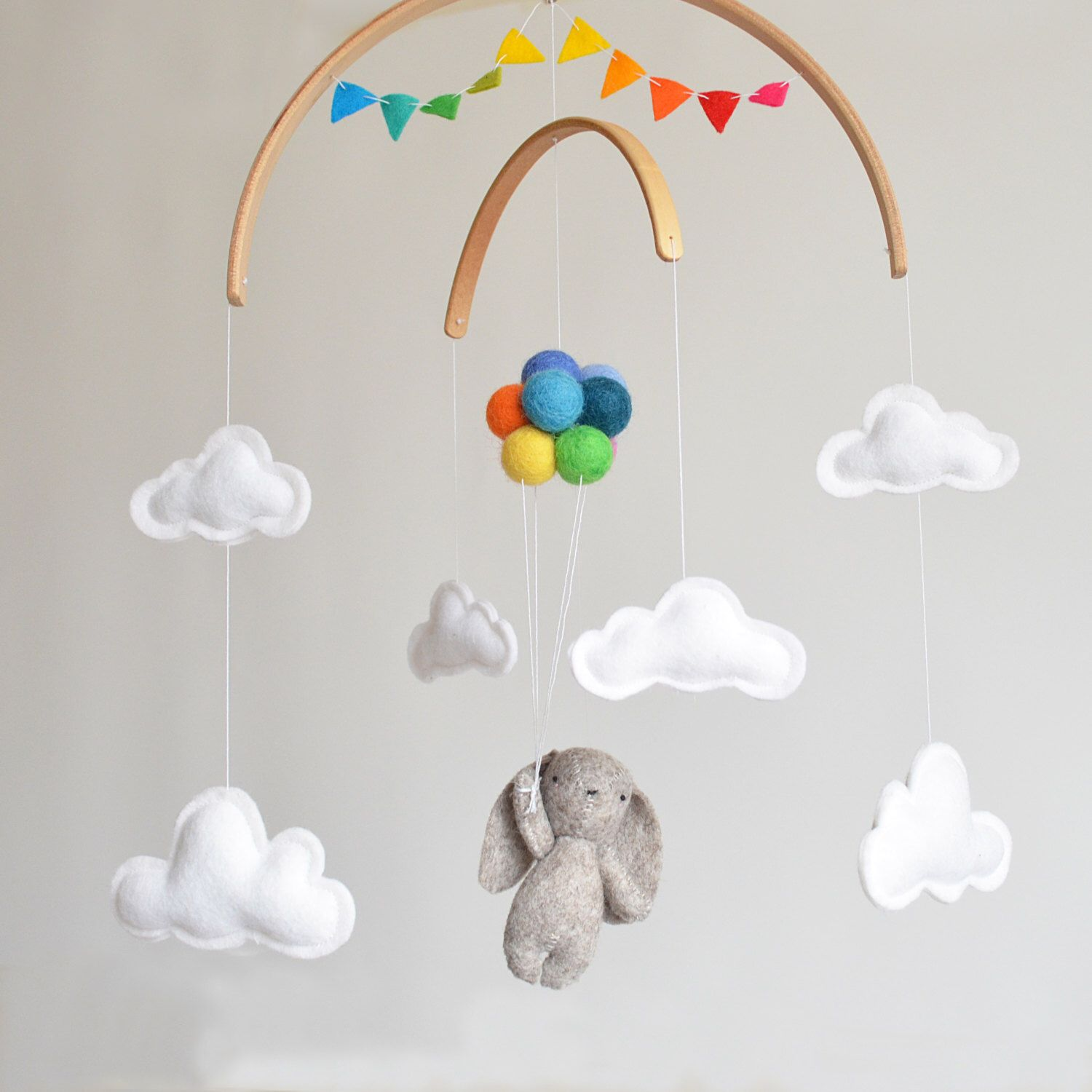 Baby Mobile Bunny with rainbow balloons and clouds | Woodland ...