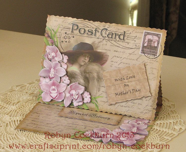 vintage postcard easel with 3d flowers 3d card at www craftsuprint