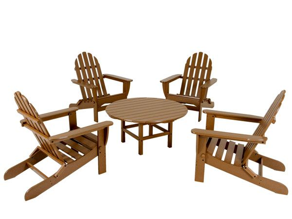 Polywood Adirondack Outdoor Furniture Set 4 Chairs Coffee Table Patio Furniture Sets Conversation Set Patio Outdoor Furniture