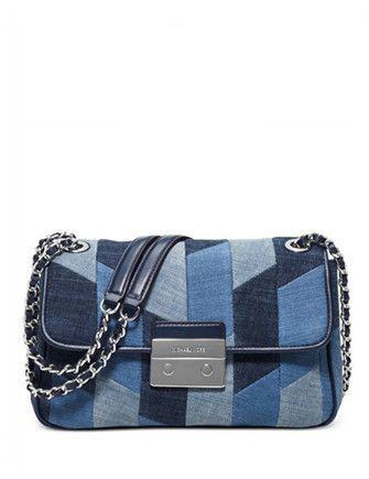 64d80552f208 Michael Michael Kors Sloan Large Chain Shoulder Bag Denim Shoulder Bags