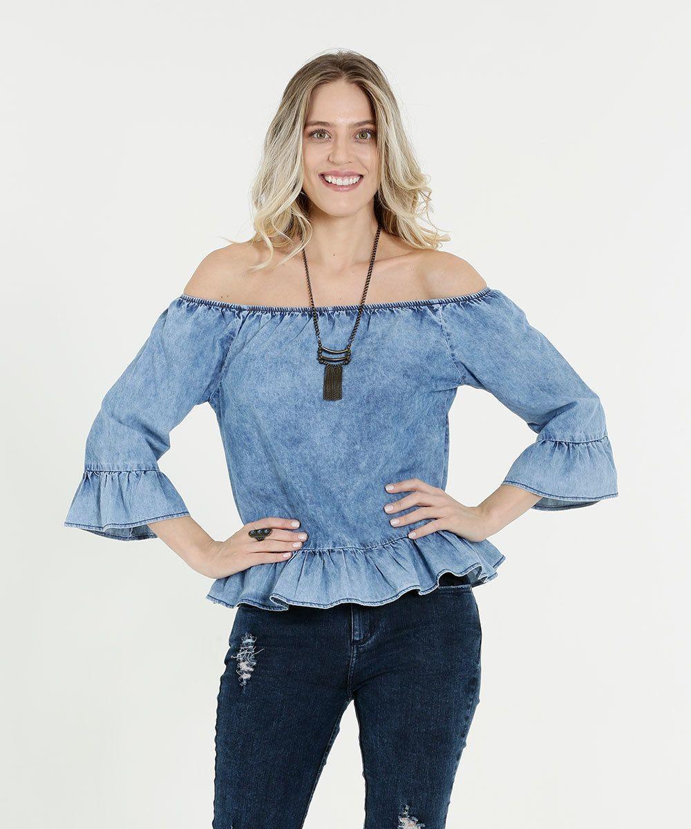 bcf00e29bc Blusa Feminina Jeans Ombro a Ombro Babado Marisa