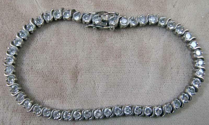 Vintage Sterling Silver Rhinestone Tennis Bracelet Ebay Auction
