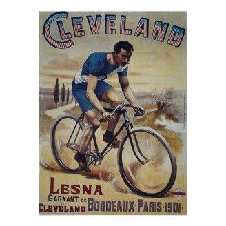 Vintage Bicycle Poster, Cleveland Bikes, Paris