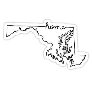 Maryland Home State Outline Sticker By Jamie Maher Maryland Sticker State Outline Creative Thinking