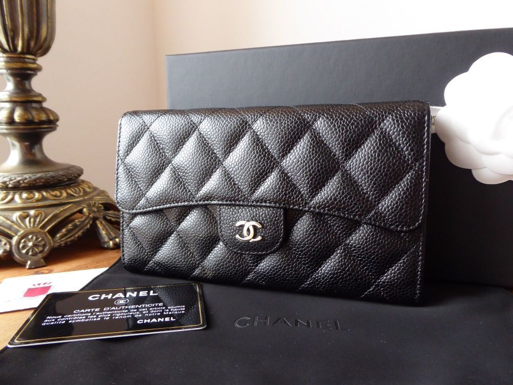4e71d71f1e30 Chanel Classic Continental Flap Purse Wallet in Black Caviar with Shiny Sil Chanel  Classic Continental Flap Purse Wallet in Black Caviar with Shiny Sil ...