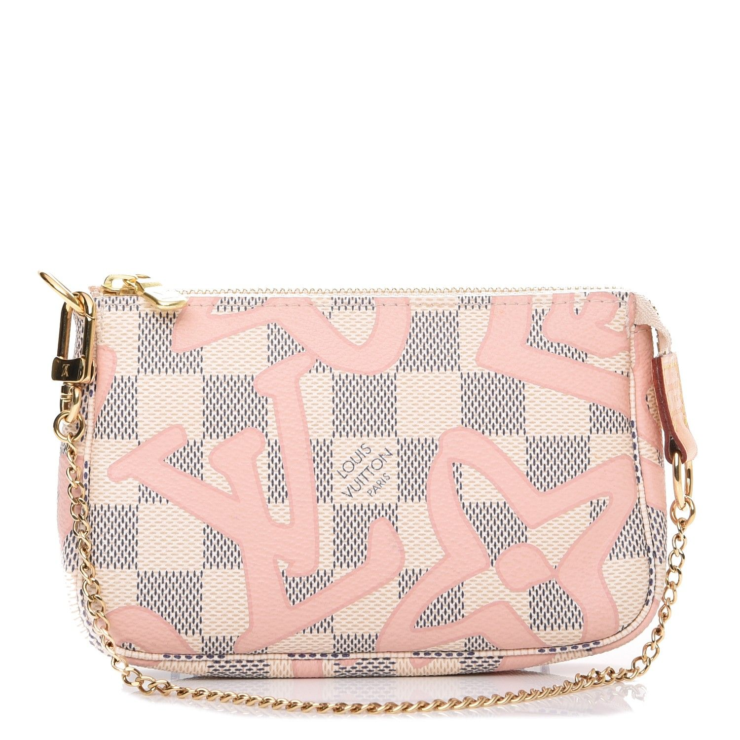 6141bf825b6b This is an authentic LOUIS VUITTON Damier Azur Tahitienne Mini Pochette  Accessories. This stylish small