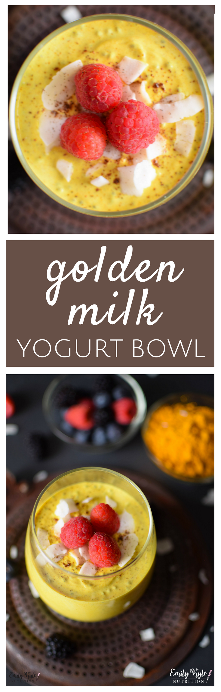 Enjoy the amazing anti-inflammatory health benefits of Turmeric in this high protein, easy-to-make Turmeric Golden Milk Yogurt Bowl! via @EmKyleNutrition
