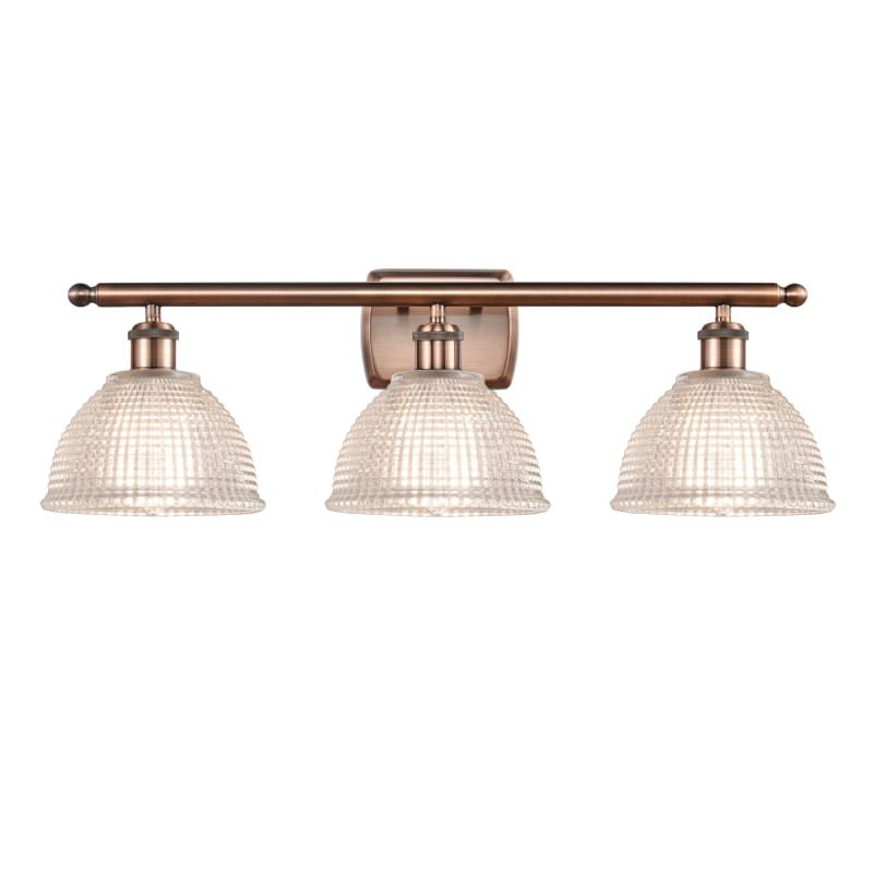 "Photo of Innovations Lighting 516-3W Arietta Arietta 3 Light 26 ""Wide Bathroom Vanity Lig Antique Copper / Clear Indoor Lighting Bathroom Fixtures Vanity Light"
