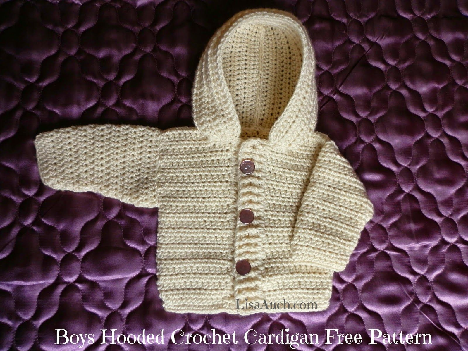 7e26413d447 boys cardigan free crochet pattern with hood - Free Crochet Patterns by  LisaAuch